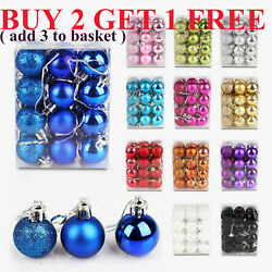 24 Christmas Ball Bauble Ornaments Xmas Tree Fancy Party Home Hanging Decoration $7.59