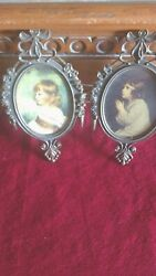 Vintage Victorian Metal Ornate Framed Girls Wall Hanging Italy 6quot;x4quot; Frames $22.00