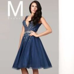 NWT Mac Duggal Midnight Blue VNeck Dress Mini Party Formal Rhinestone $498 $140.25