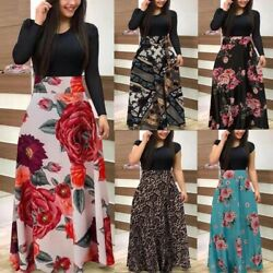 Women Long Sleeve Canonicals Summer Plus Size Floral Fashion Maxi Sexy Dress $23.99