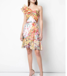 NEW Marchesa Notte One Shoulder Color Blocked Printed Cocktail size 8 #D3319 $339.99
