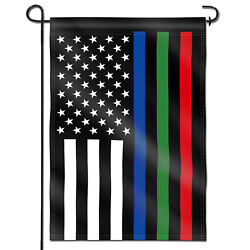 Anley Thin Blue Green and Red Line USA Decorative Garden Flags Double Sided $7.95
