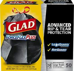 Glad ForceFlexPlus Drawstring Large Trash Bags 30 Gallon 50 Count $23.35