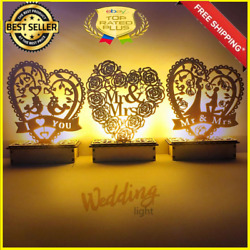 Party Wedding Ornament LED Light Wooden DIY Mr Mrs Rustic Decorations Party Ball C $13.45