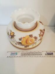 VINTAGE HURRICANE FLORAL MILK GLASS LAMP SHADE 6 1 2quot; Fitter Opening $30.00