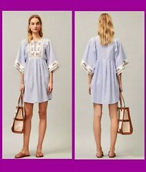TORY BURCH EMBROIDERED BEACH COVER UP CAFTAN TUNIC DRESS BLUE WHITE STRIPE SZ M $159.99