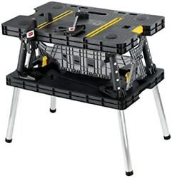 Keter Folding Table Work Bench Miter Saw Stand Woodworking Tools w 12quot; Clamps $59.00