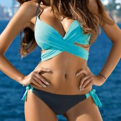 Bra amp; Brief Sets Push up Padded Bra Swimsuit Bathing Women Bikini Set Mid Waist $20.99