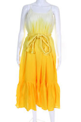 Rhode Womens Lea Belted Midi Length Dress Yellow Ombre Size Medium $140.24