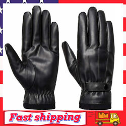 Men#x27;s Winter Black Gloves Leather Touchscreen Snap Closure Cycling Glove $29.99