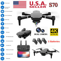 FPV Wifi RC Drone With HD Camera Foldable Quadcopter Selfie 4K 1080P w 3 Battery $38.69