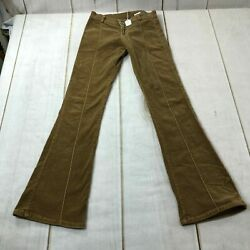 Just USA Womens Low Rise Flat Front Bootcut Designer Brown Jeans Size 0 $16.99