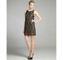 Erin Fetherston Black Nude Lace Shift Cocktail Chiffon Dress NEW NWT $134.99