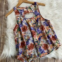 Lush Small Floral Tank Top Blouse Open Cut Out Back Summer Spring Vacation Beach $14.99