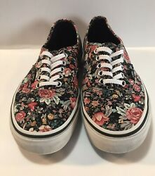 Vans Off The Wall Women's Size 8 Low Top Sneakers Black With Flowers $22.99