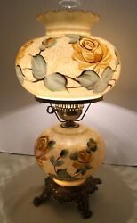 Vintage Hurricane Gone With The Wind Roses amp; Leaves Floral Parlor Table Lamp HP $80.00