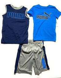 Puma Boys#x27; 3 Pcs Set Short T Shirt Muscle Shirt Outfit Ages 4 17 Years $19.99