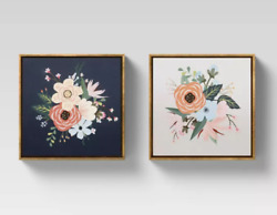 12quot; x 12quot; Floral Framed Wall Canvas Opalhouse Set of 2 $29.99