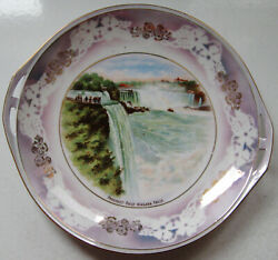 ANTIQUE NIAGARA FALLS PROSPECT POINT SOUVENIR LUSTER PLATE MADE IN GERMANY $12.99
