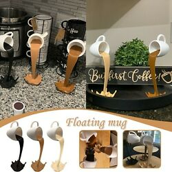Floating Coffee Cup Mug Sculpture Kitchen Decor Pouring Spilling Decoration $17.47