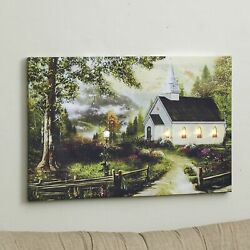 Lighted White Country Church in a Forest Wall Art Canvas Picture $16.98