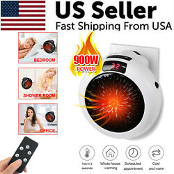 900W Portable LED Digital Electric Heater Wall Sockets Mini Fan With Timer Home $18.59