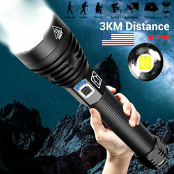 Brightest 250000LM XHP90 LED Flashlight Rechargeable 3 Modes Zoom Torch Powerful $32.99