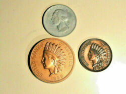 3 Large Novelty coins 1877 amp; 1859 Indian head Penny Paperweight 1972 Quarter $12.50