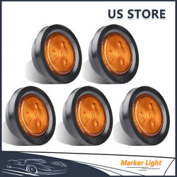 5Pcs 2.5quot; Round Amber 4LED Truck Trailer Clearance Side Marker Light Signal Lamp