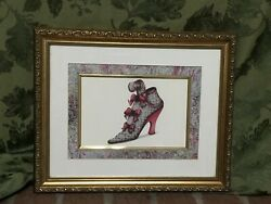 Vintage Wall Hanging Antique Victorian Shoe Picture Print Saunders 13 x 16 $29.00