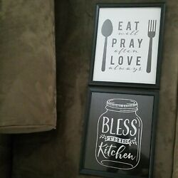 2 Kitchen Dining Wall Art Black and White 8quot; × 10quot; Glass framed pictures. $4.99