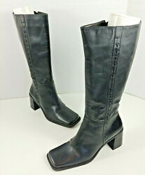 White Mountain Women#x27;s quot;Anniequot; Tall Boots Size 9 Black Leather Brazil EUC $26.95