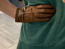 Prada Brown Luggage Cognac Leather Gloves Logo Front sz 7 Small $199.00