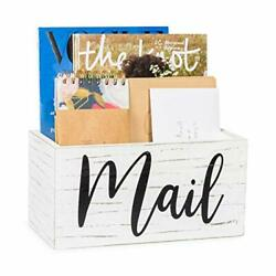 Ilyapa Wood Mail Holder for Countertop White for Entryway Table Decor $25.99