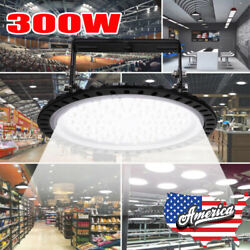300W LED High Bay Light UFO Warehouse Fixture Factory Garage Commercial Lighting