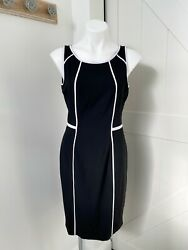 White House Black Market Black White Detail Sheath Dress Career Cocktail Size 6 $25.00