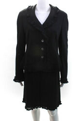 Moschino Cheap amp; Chic Womens Four Button V Neck Skirt Suit Black Wool Size 14 $79.99