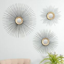 3 Piece Metal Sunburst Wall Mirror Mid Century Modern Home Office Accent Decor $195.00