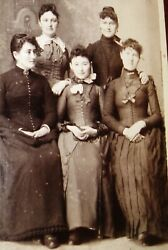 CDV PHOTO OF 5 LOVELY YOUNG WOMEN WEARING PRETTY DRESSES BEAVER DAM WISCONSIN $6.99
