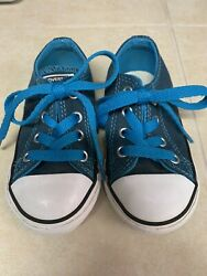 Converse All Star Toddler Infant Unisex Shoes Turquoise Low Tops Size 6Nice $12.00