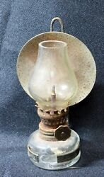 Antique Hurricane rustic lamp with wick clear glass chimney and metal reflector $40.00