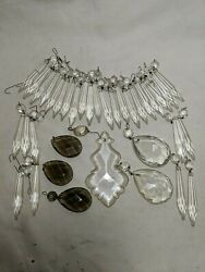 Lot 36 Crystal Chandelier Prisms Pendants Drops 3quot; Icicles Smoke Gray Vintage $60.00