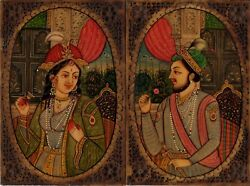 Mughal Portrait Art Antique Look Indian Painting of Shah Jahan and Mumtaz Mahal $109.99