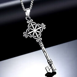Gothic Mens Stainless Steel Hip Hop Key Pendant Necklace Men Silver Chain $10.55