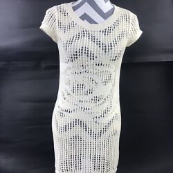 Pins amp; Needles Womens Small Ivory Open Knit Crochet Cover Up Tunic Top $24.99