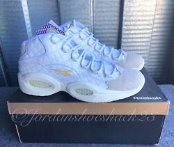 Reebok Question Mid Quilted White Party Mens 13 Iverson Leather Sneakers AR1710 $250.00
