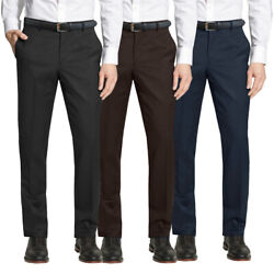 Mens Dress Belt Pants Flat Front Formal Slim Fit Trousers Multiple $20.88