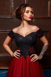 Gothic Red and Black Simple Wedding Dress Bridal Gown Off the Shoulder ALine