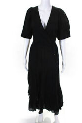 Rhode Womens Puff Sleeve Tiered Gina Dress Black Size Small $162.24