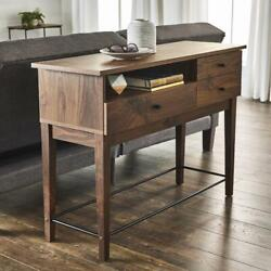 Sofa Console Table Vintage Walnut Finish with Drawers Storage Console Wood Desk $204.27